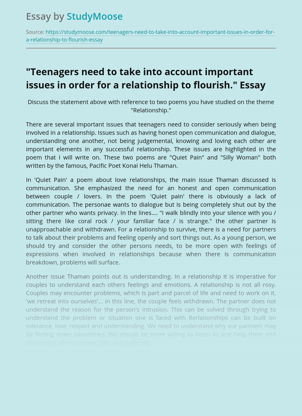 """""""Teenagers need to take into account important issues in order for a relationship to flourish."""""""