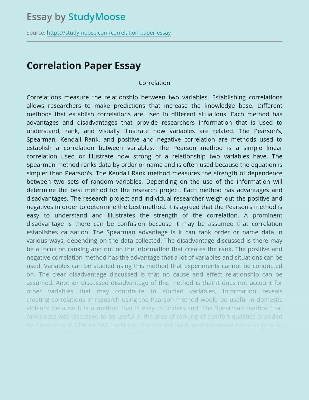 Correlation Paper