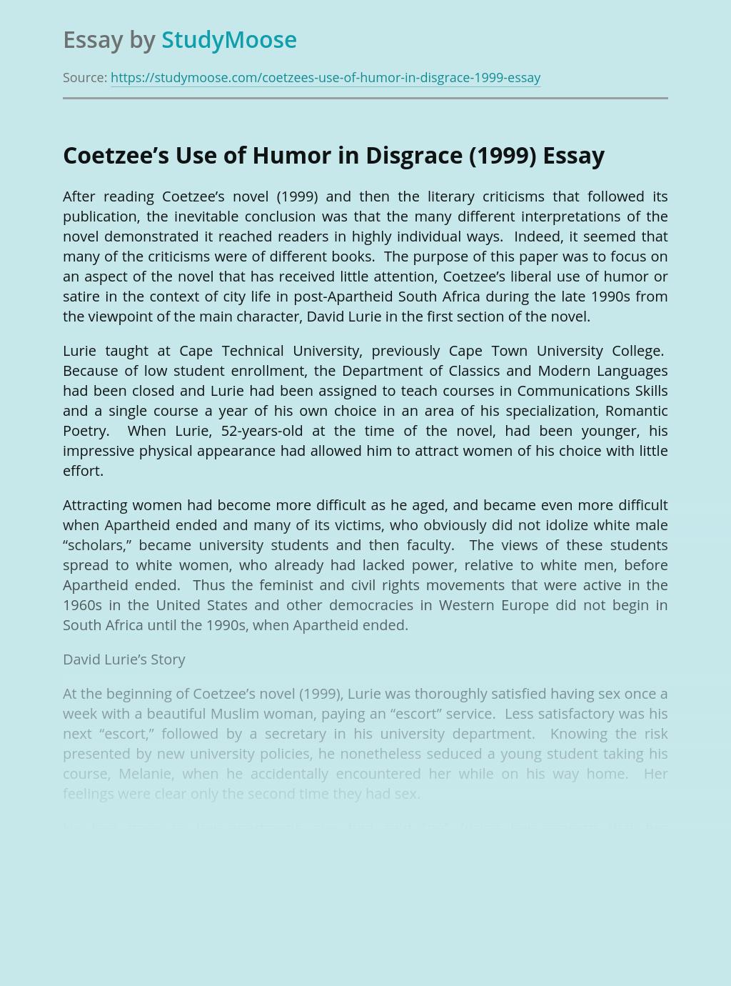 Coetzee's Use of Humor in Disgrace (1999)