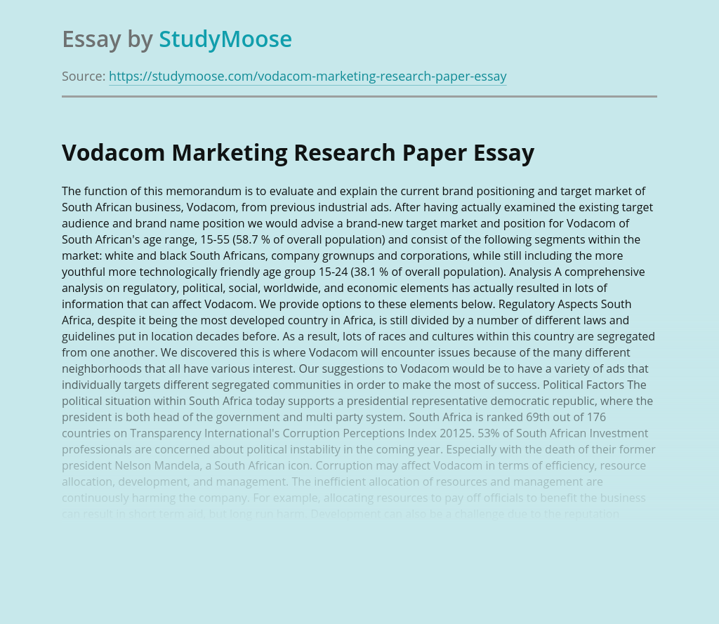 Vodacom Marketing Research Paper
