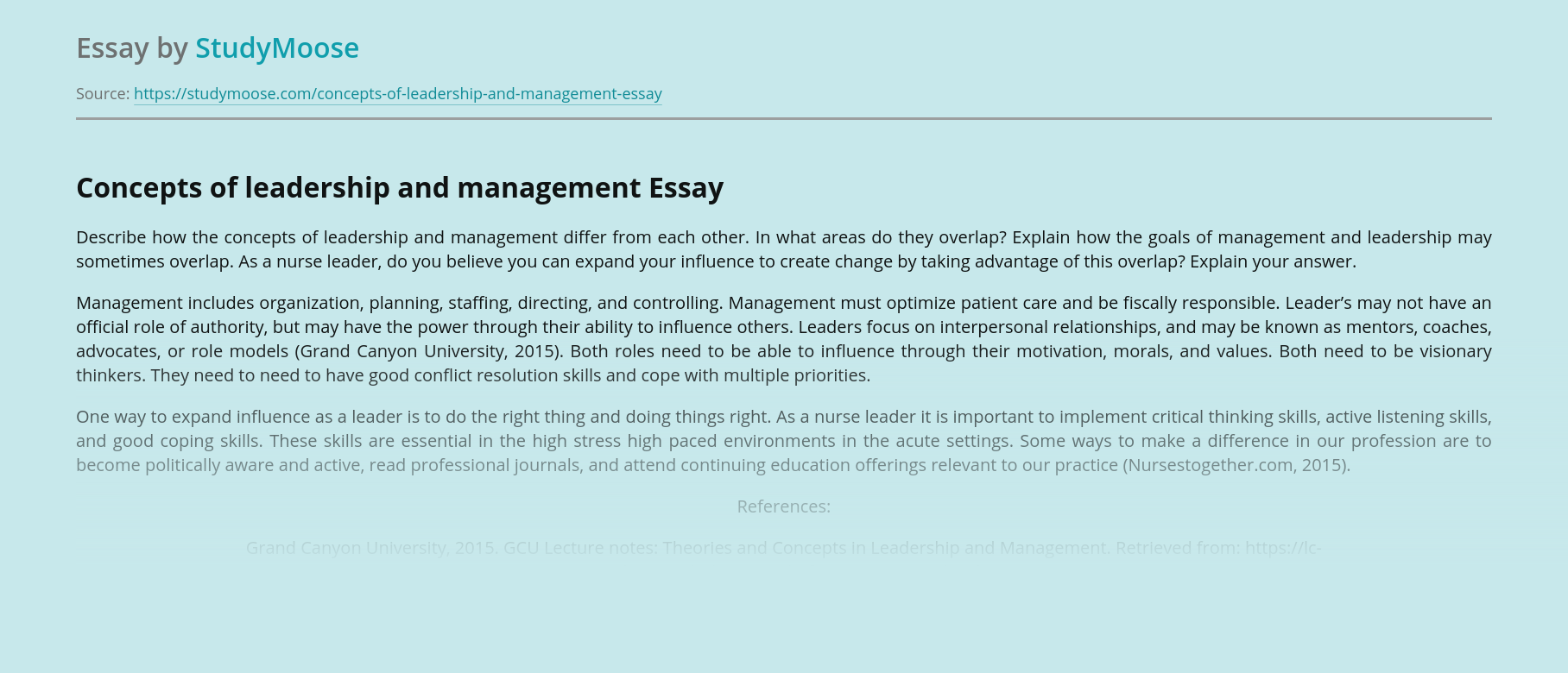Concepts of leadership and management