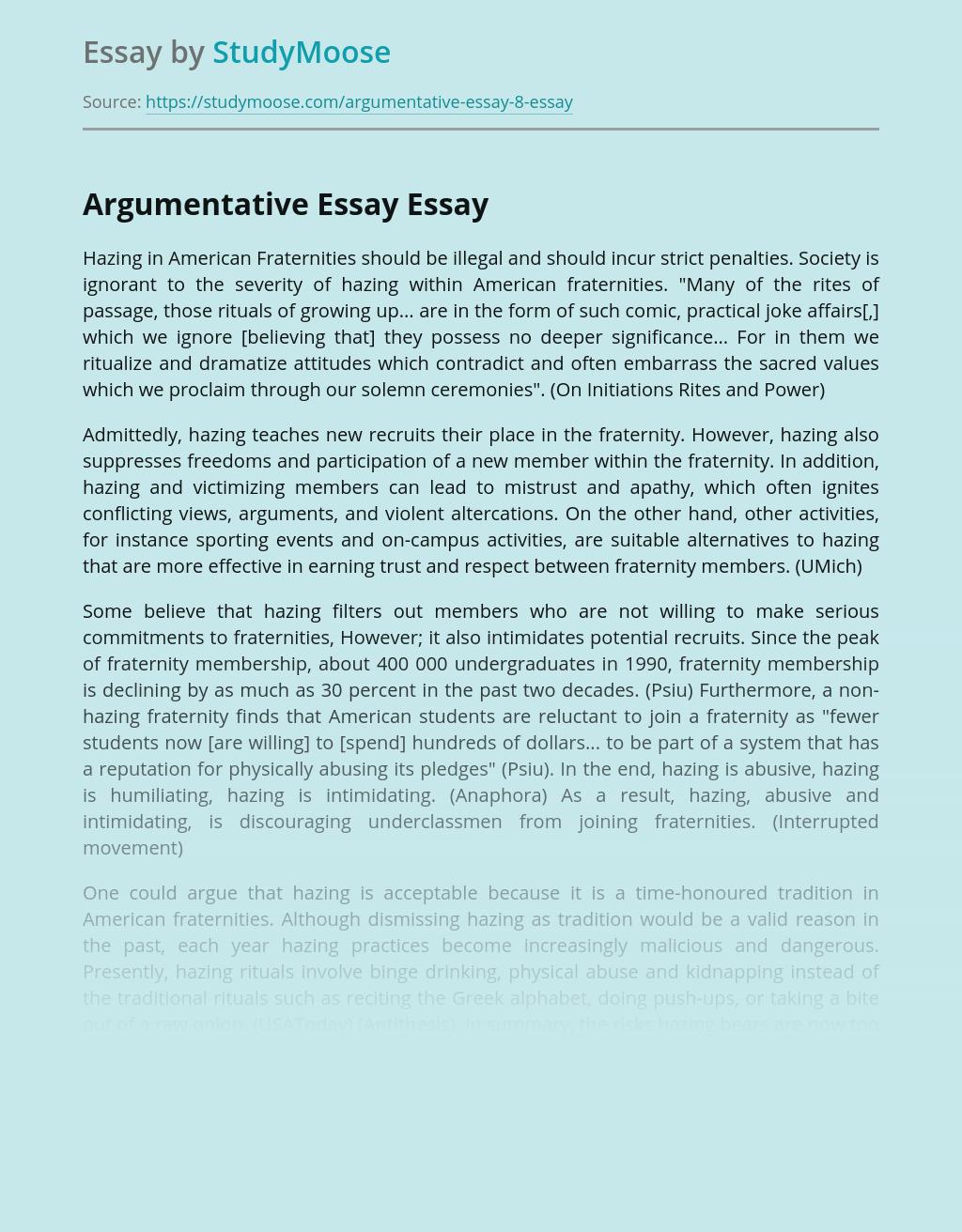 Argumentative Essay on Prohibition of Hazing