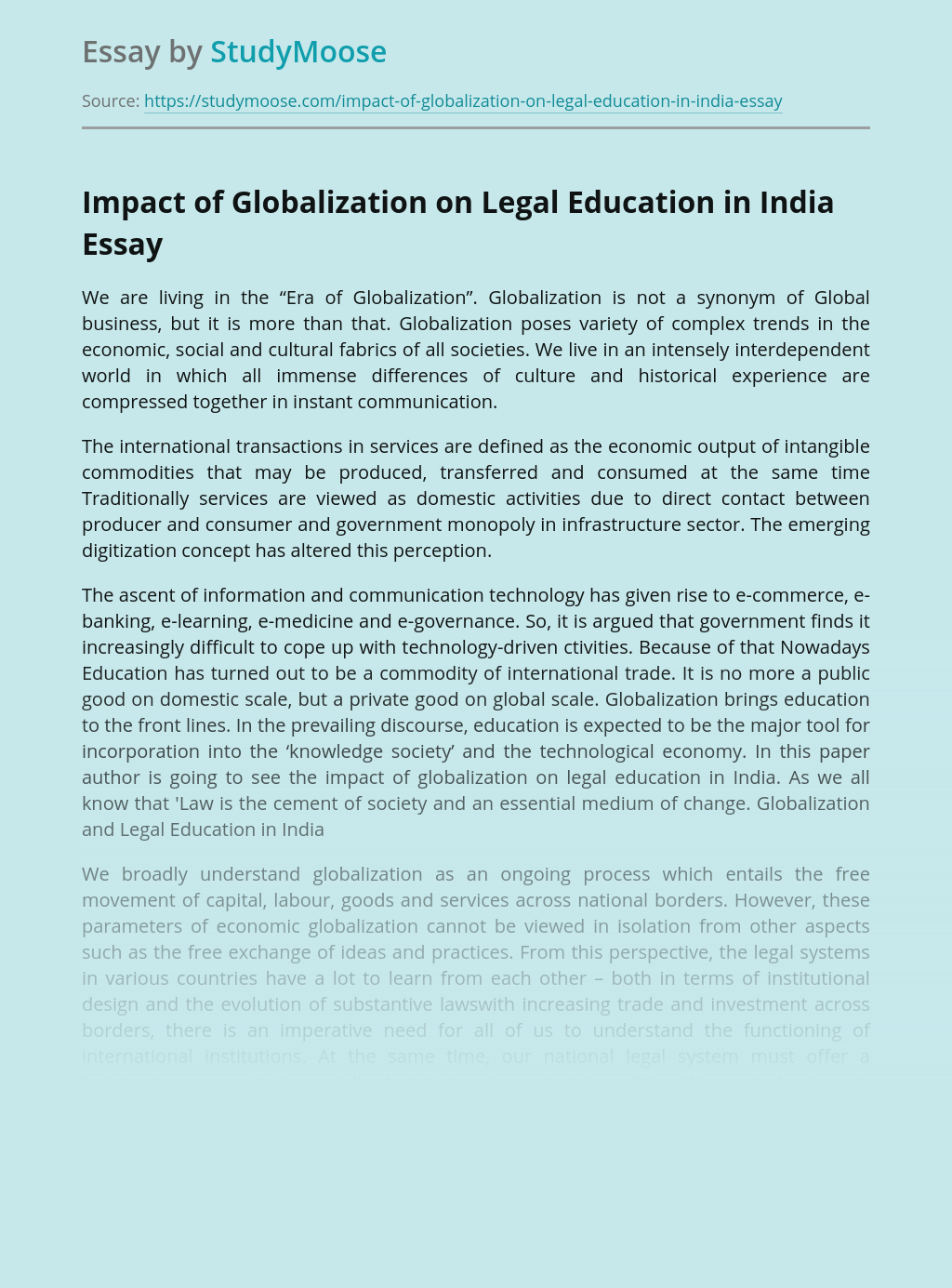 Impact of Globalization on Legal Education in India