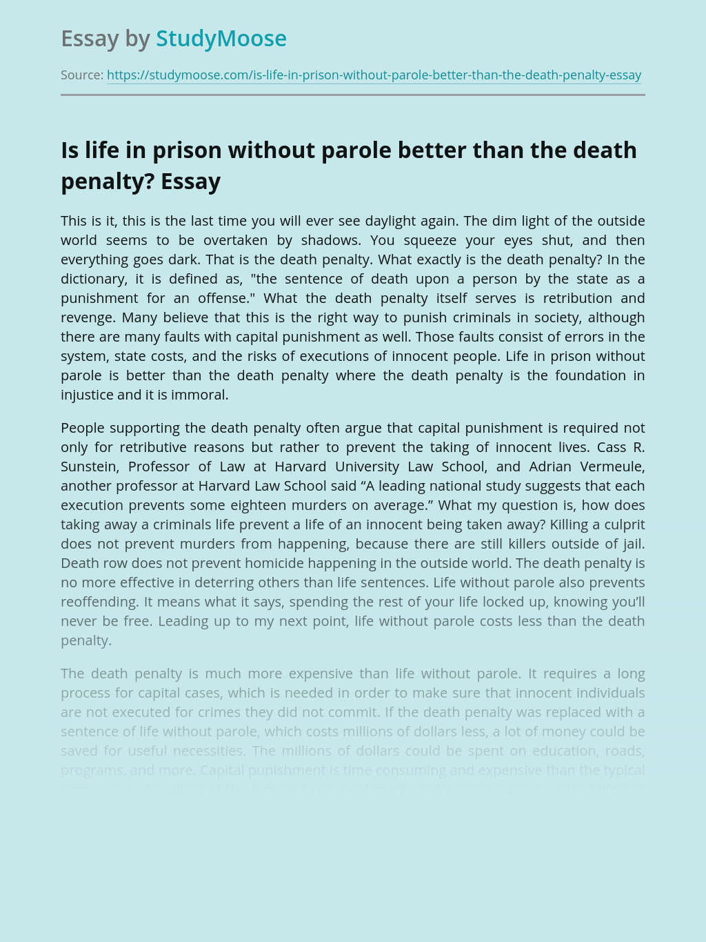 Is life in prison without parole better than the death penalty?