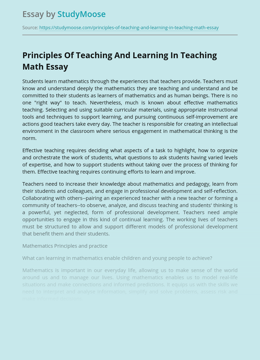 Principles Of Teaching And Learning In Teaching Math