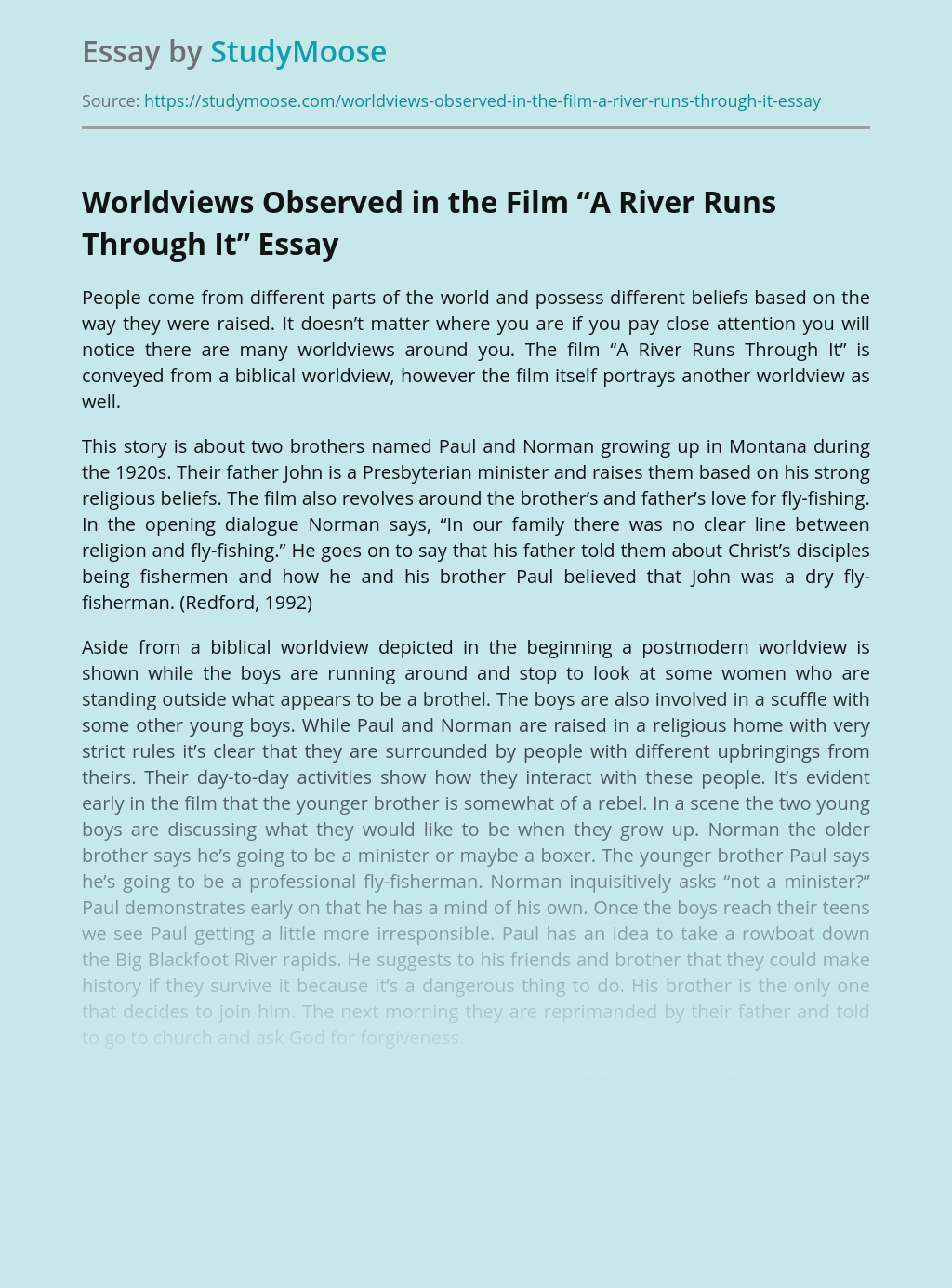 "Worldviews Observed in the Film ""A River Runs Through It"""