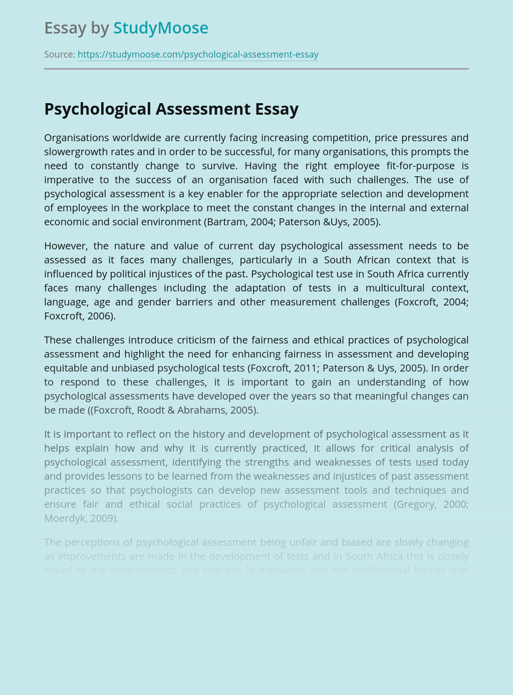 Psychological Assessment for Employment