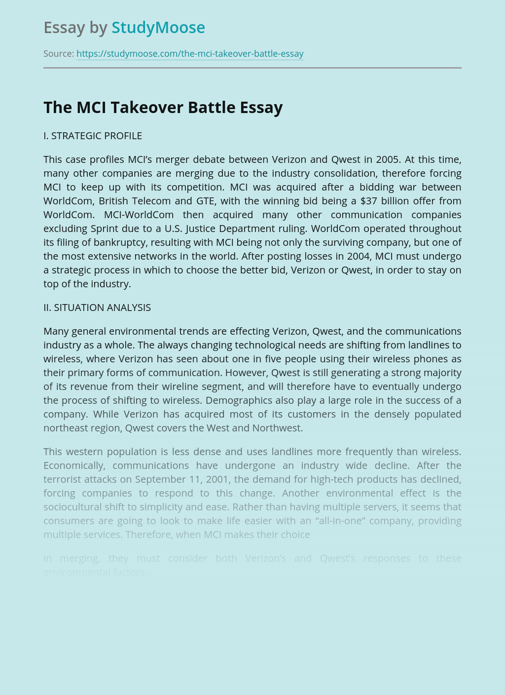 Business Management of The MCI