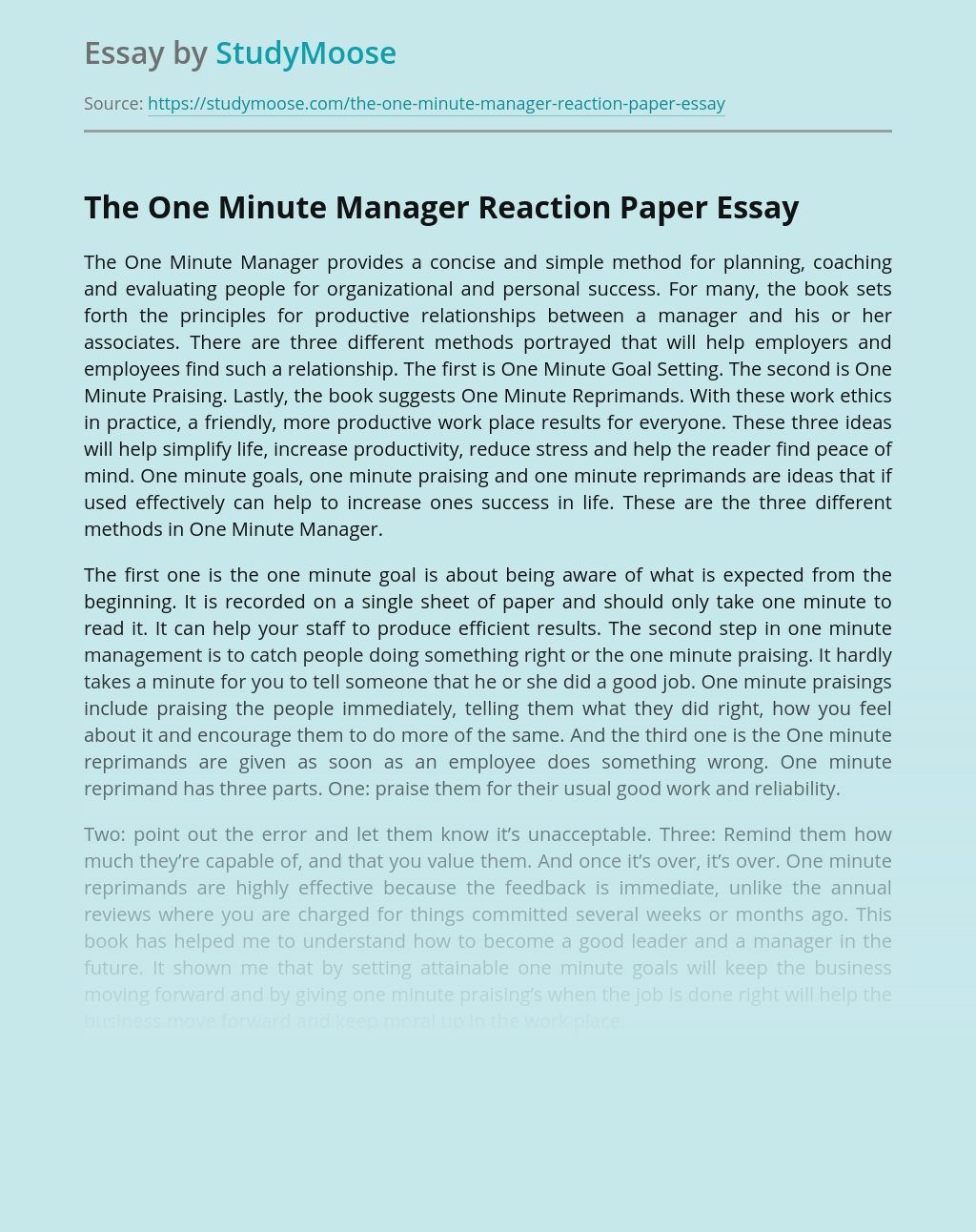 ?The One Minute Manager Reaction Paper