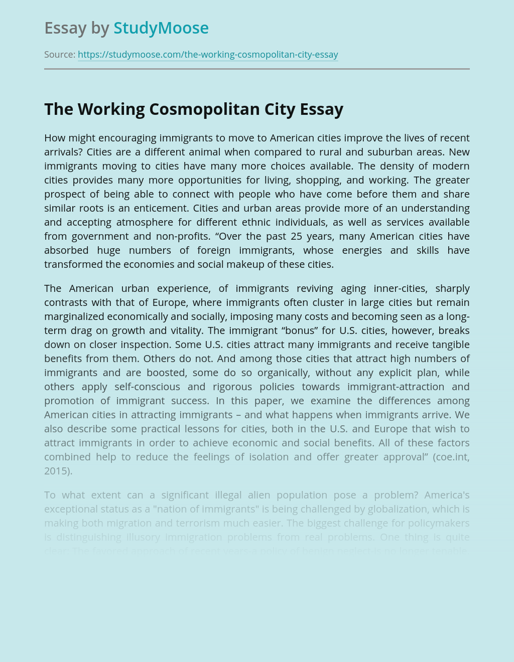 The Working Cosmopolitan City
