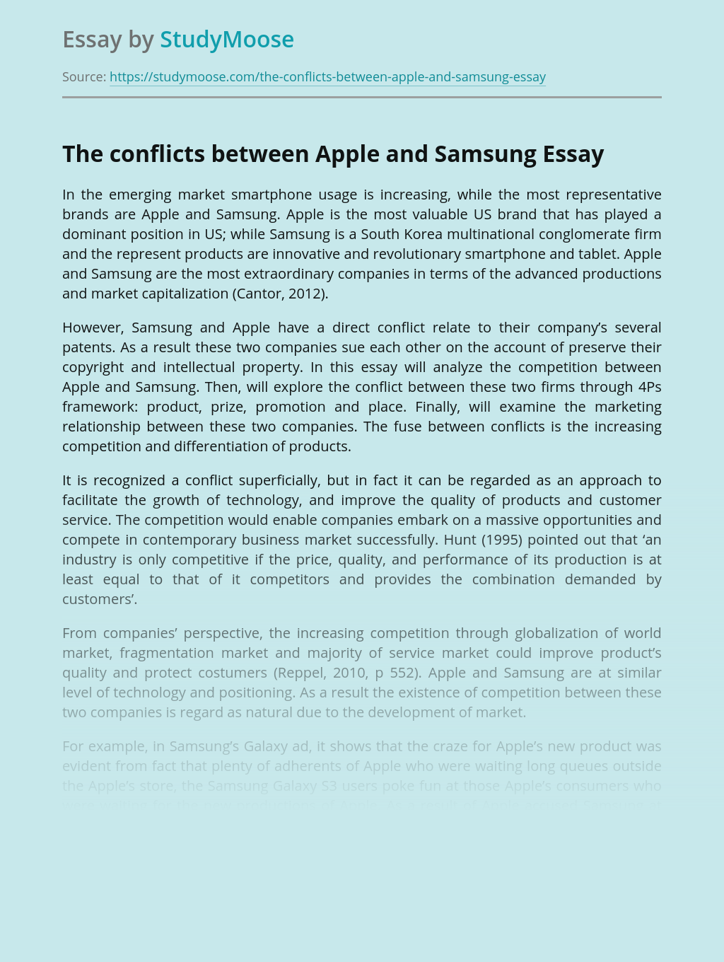 The conflicts between Apple and Samsung