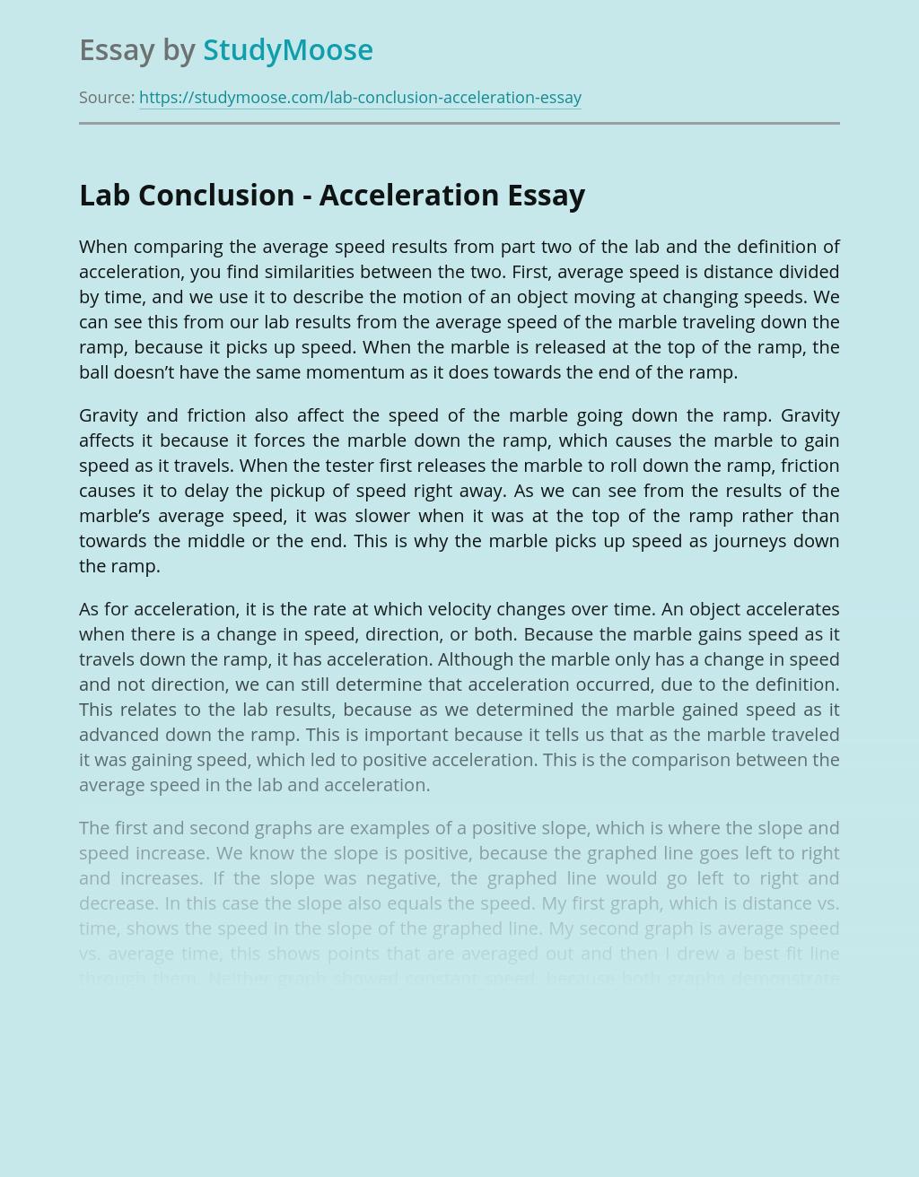 Lab Conclusion - Acceleration