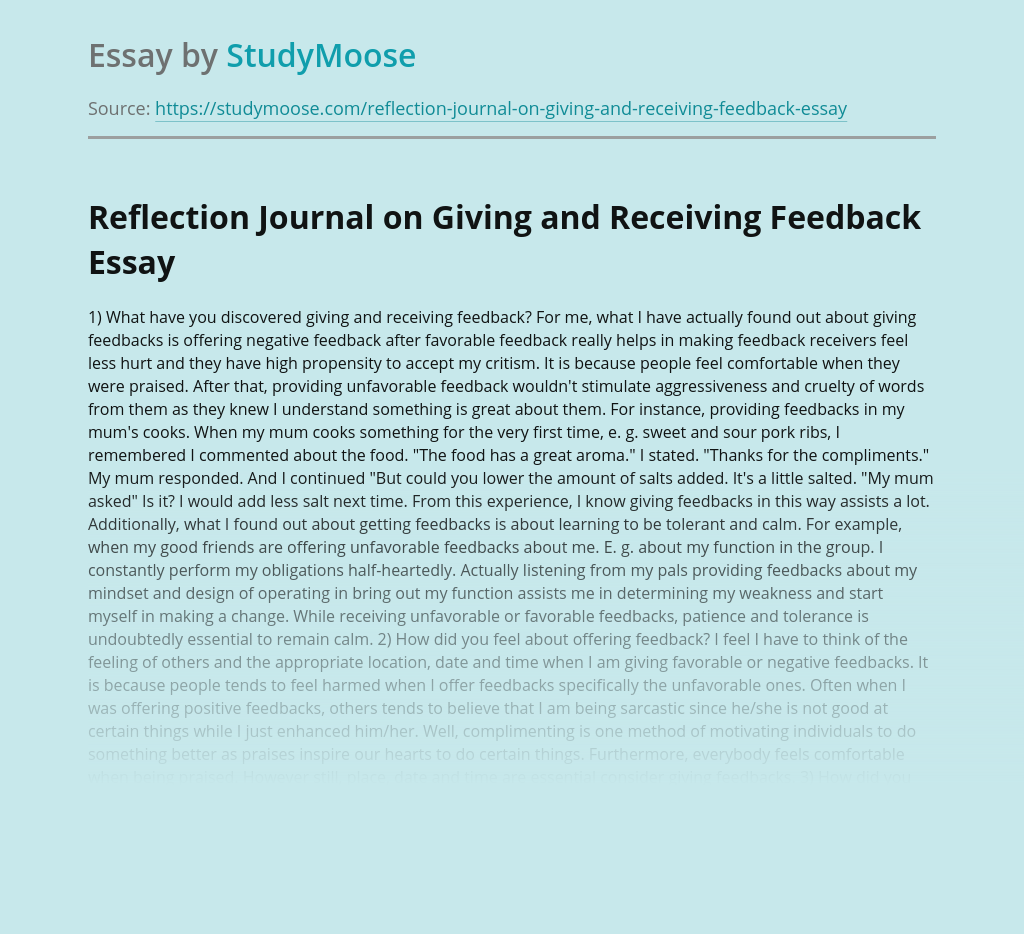 Reflection Journal on Giving and Receiving Feedback