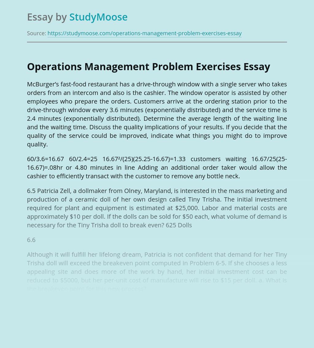 Operations Management Problem Exercises