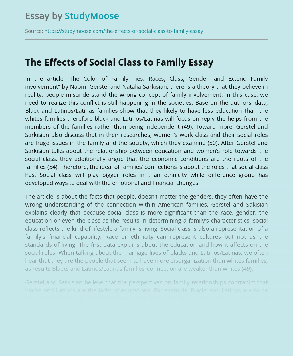 The Effects of Social Class to Family