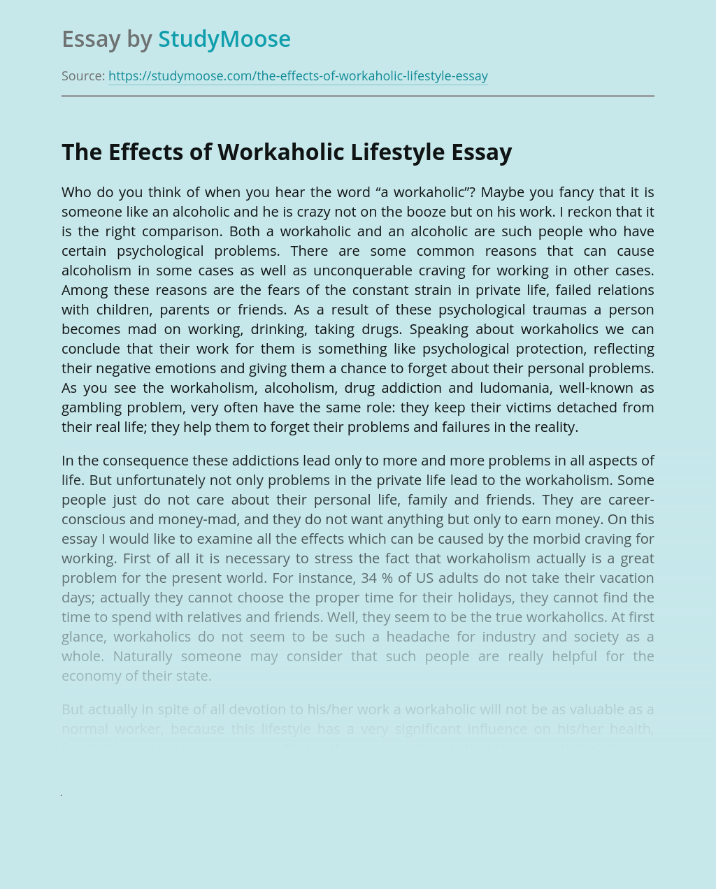 The Effects of Workaholic Lifestyle