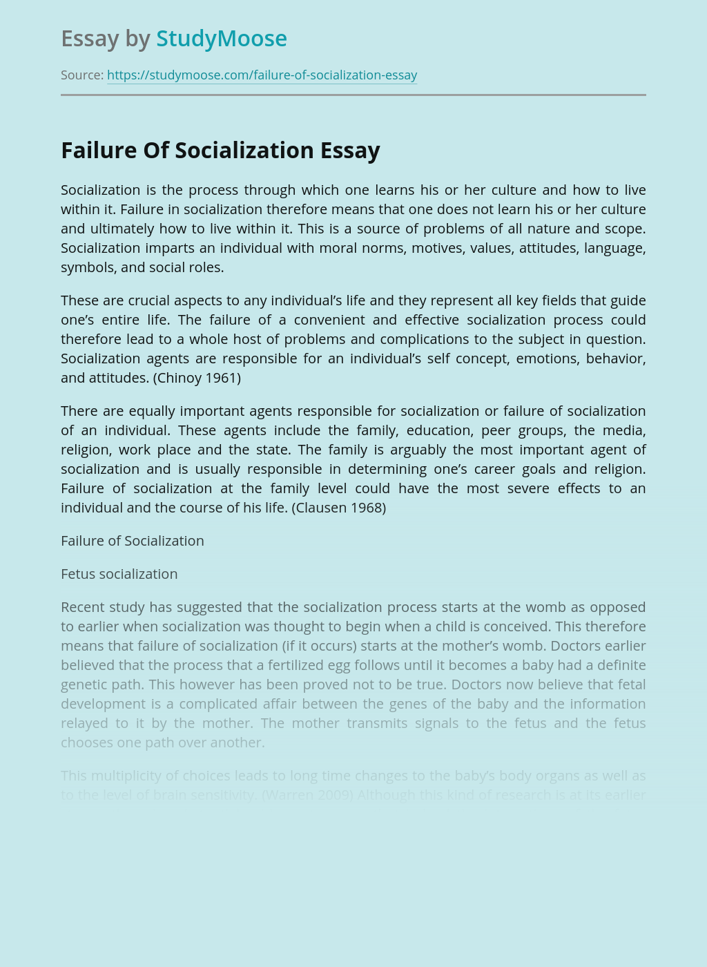 Failure Of Socialization