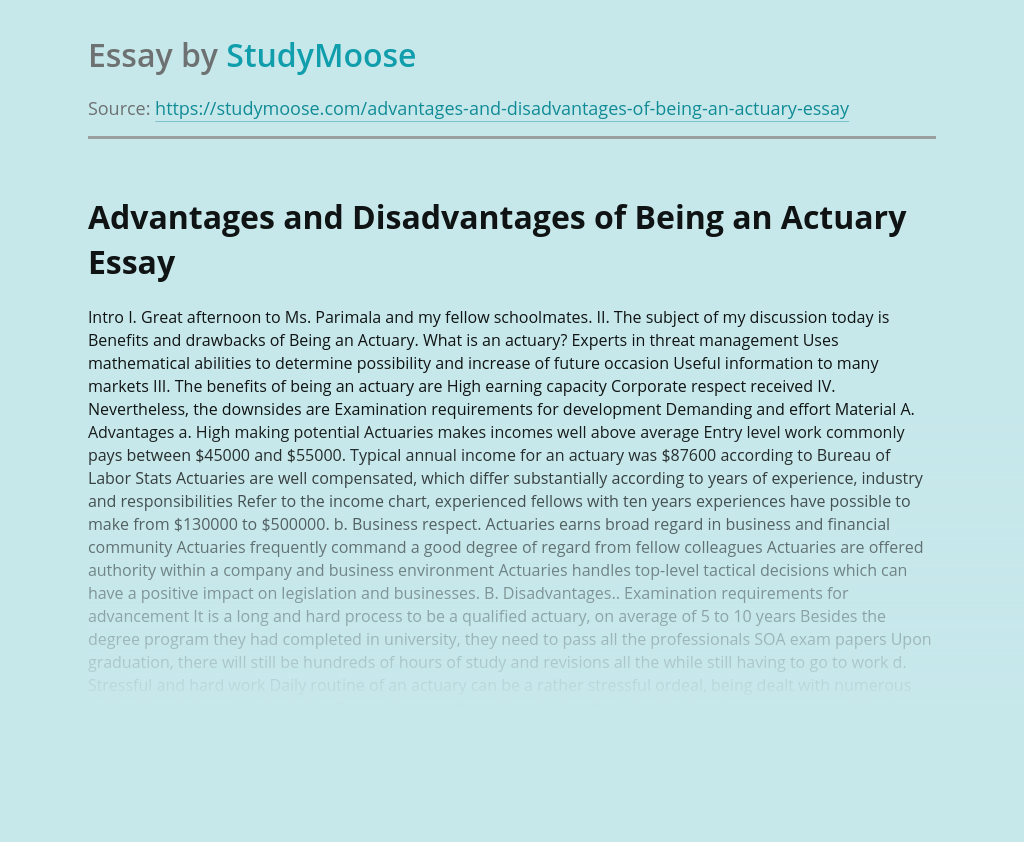Advantages and Disadvantages of Being an Actuary