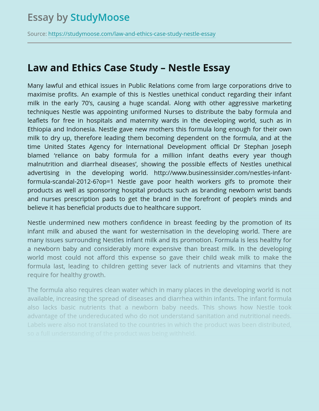 Law and Ethics Case Study – Nestle