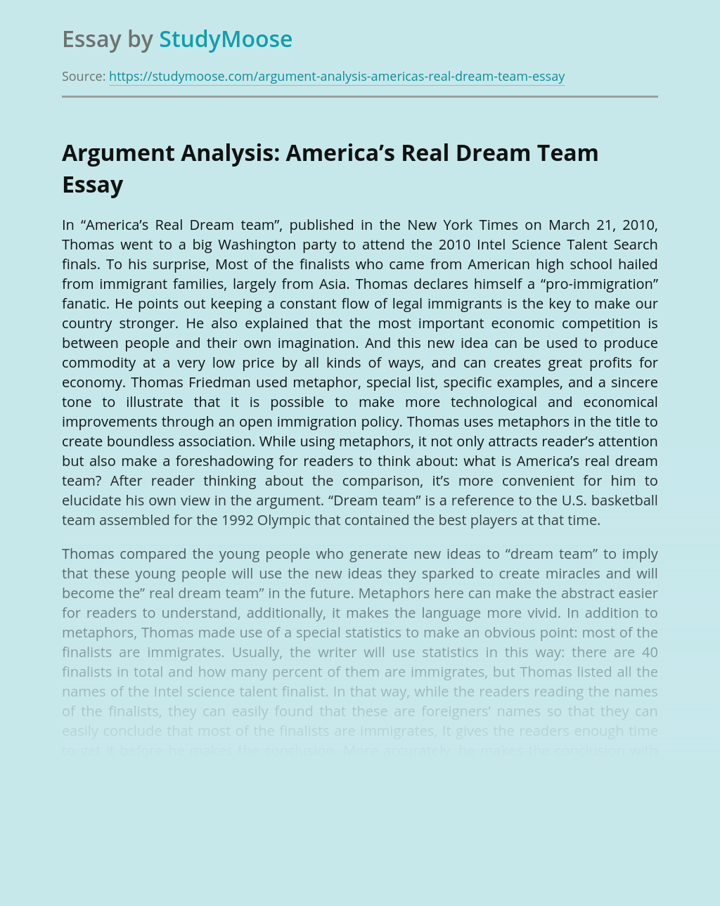Argument Analysis: America's Real Dream Team