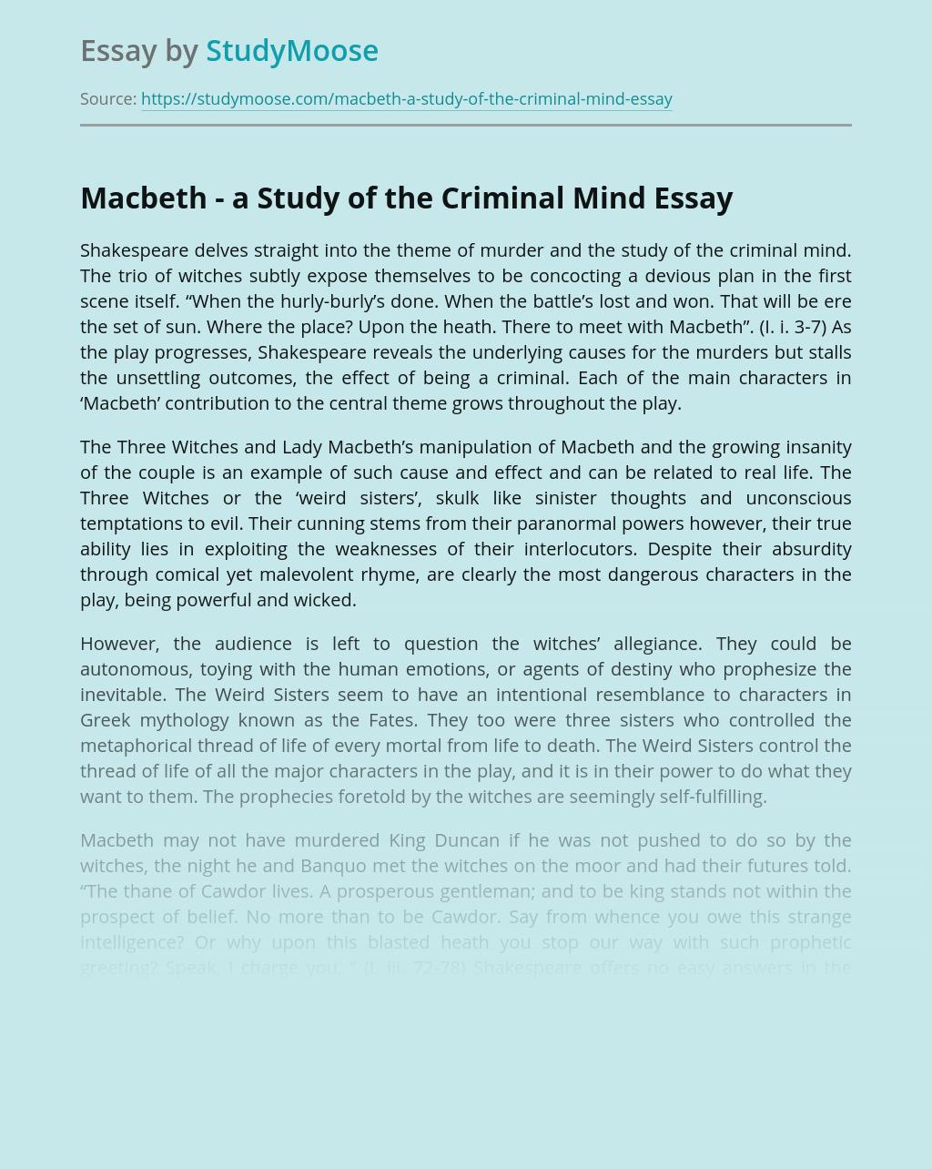 Macbeth - a Study of the Criminal Mind