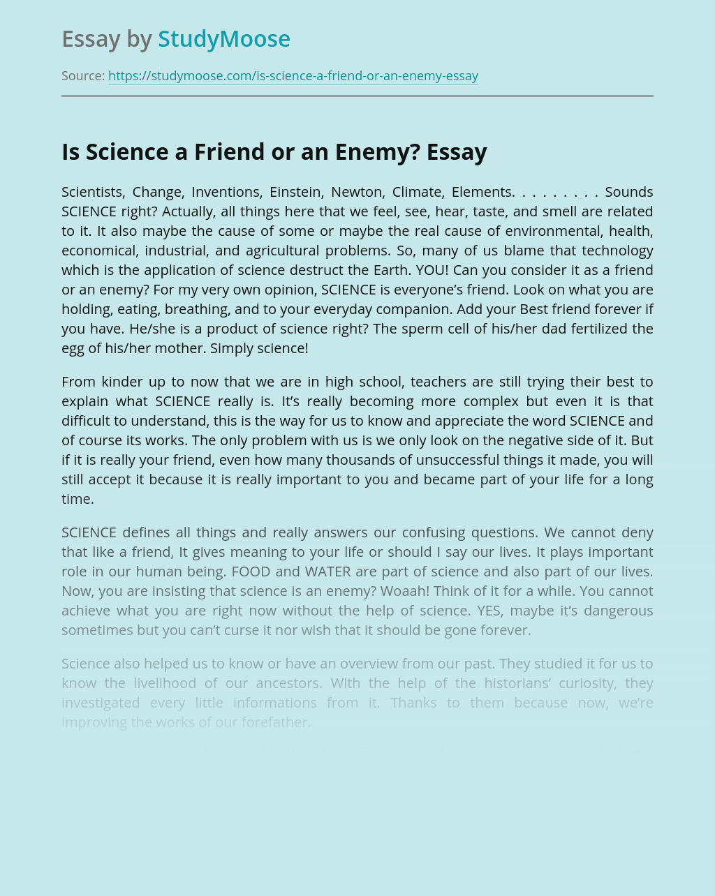 Is Science a Friend or an Enemy?