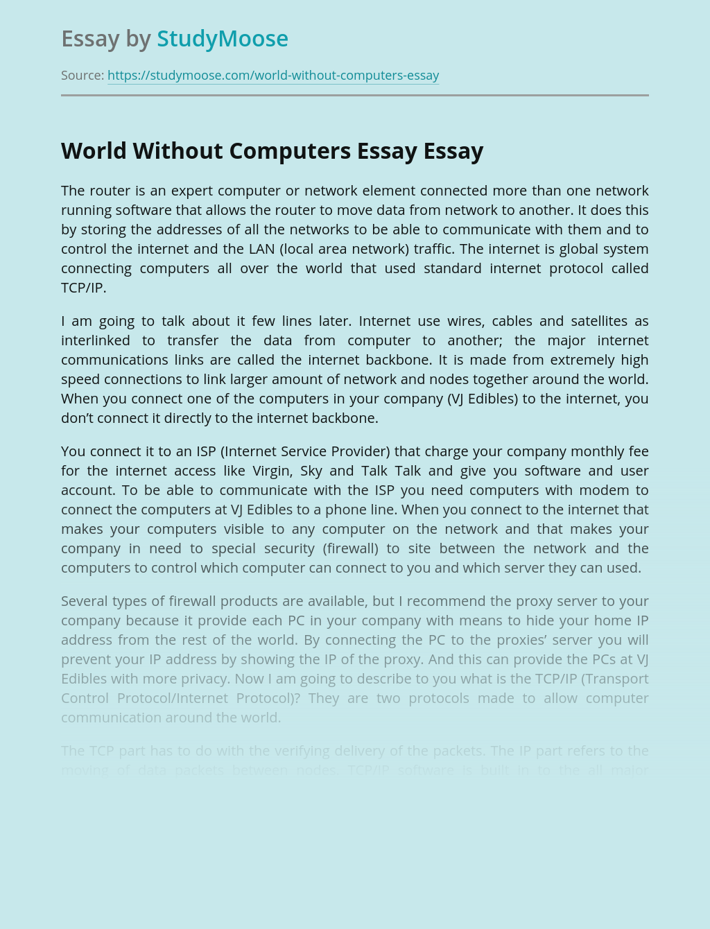 World Without Computers Essay