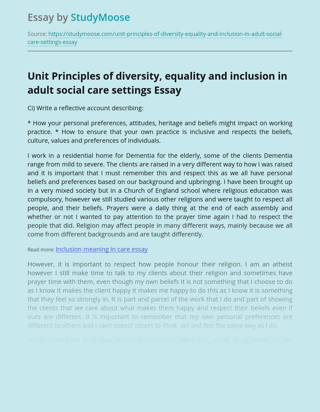 Unit Principles of diversity, equality and inclusion in adult social care settings