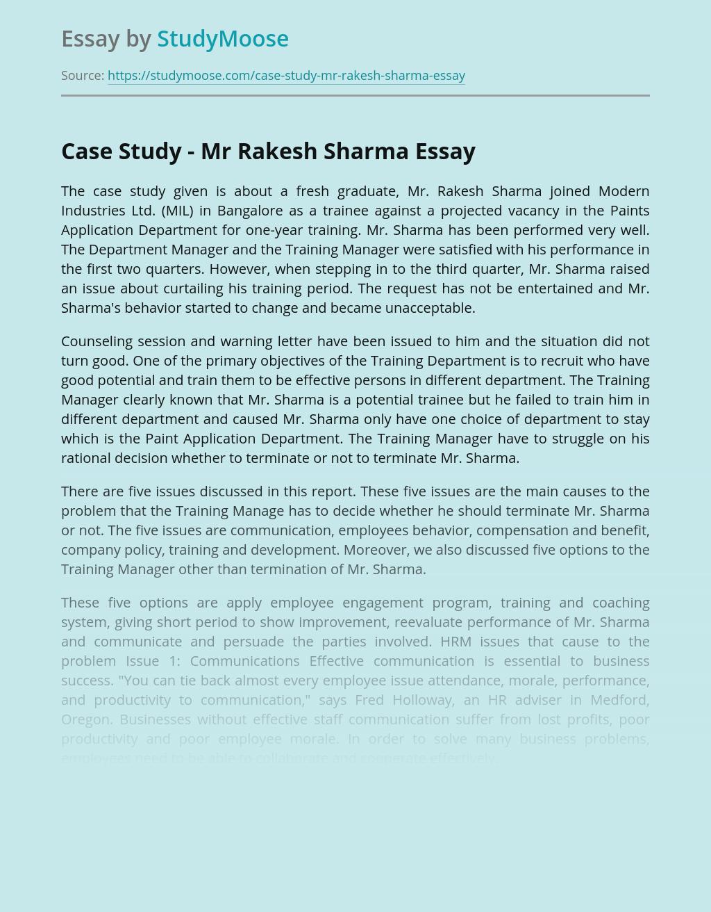 Case Study - Mr Rakesh Sharma
