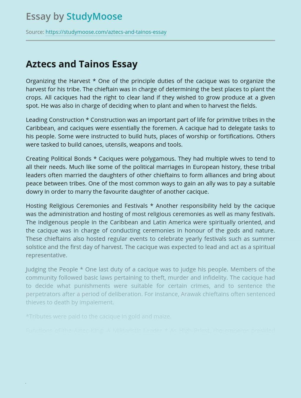 Civilization of Aztecs and Tainos Comparison