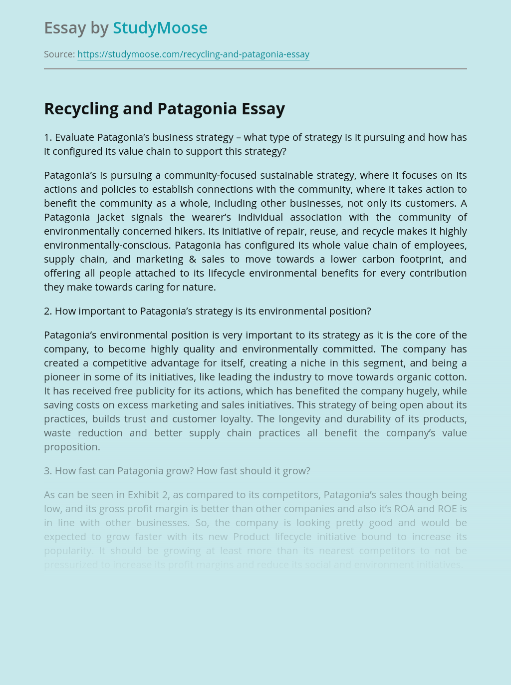 Recycling and Patagonia