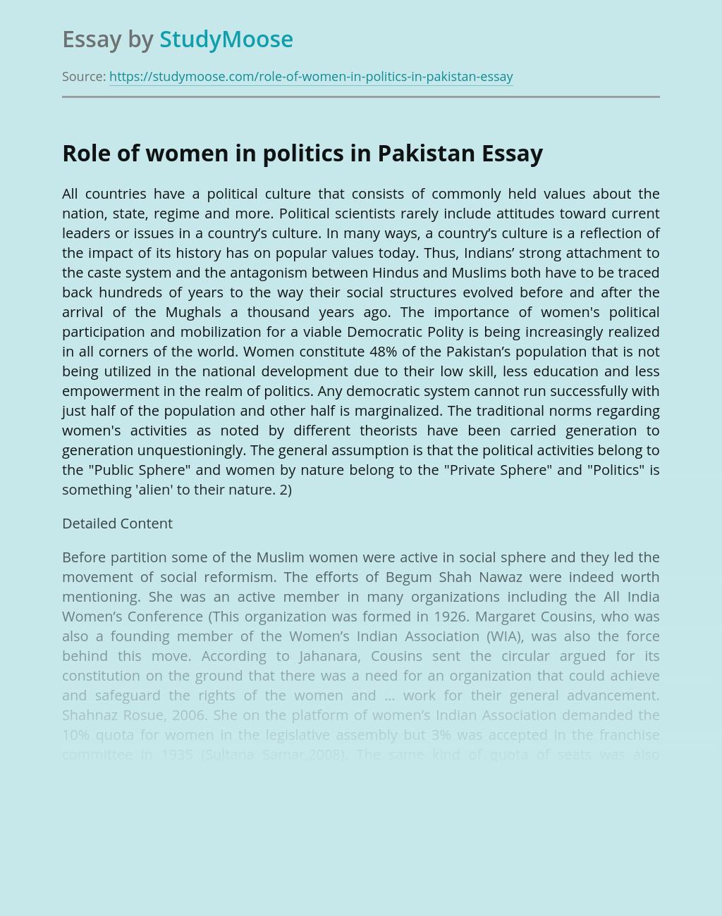Role of women in politics in Pakistan