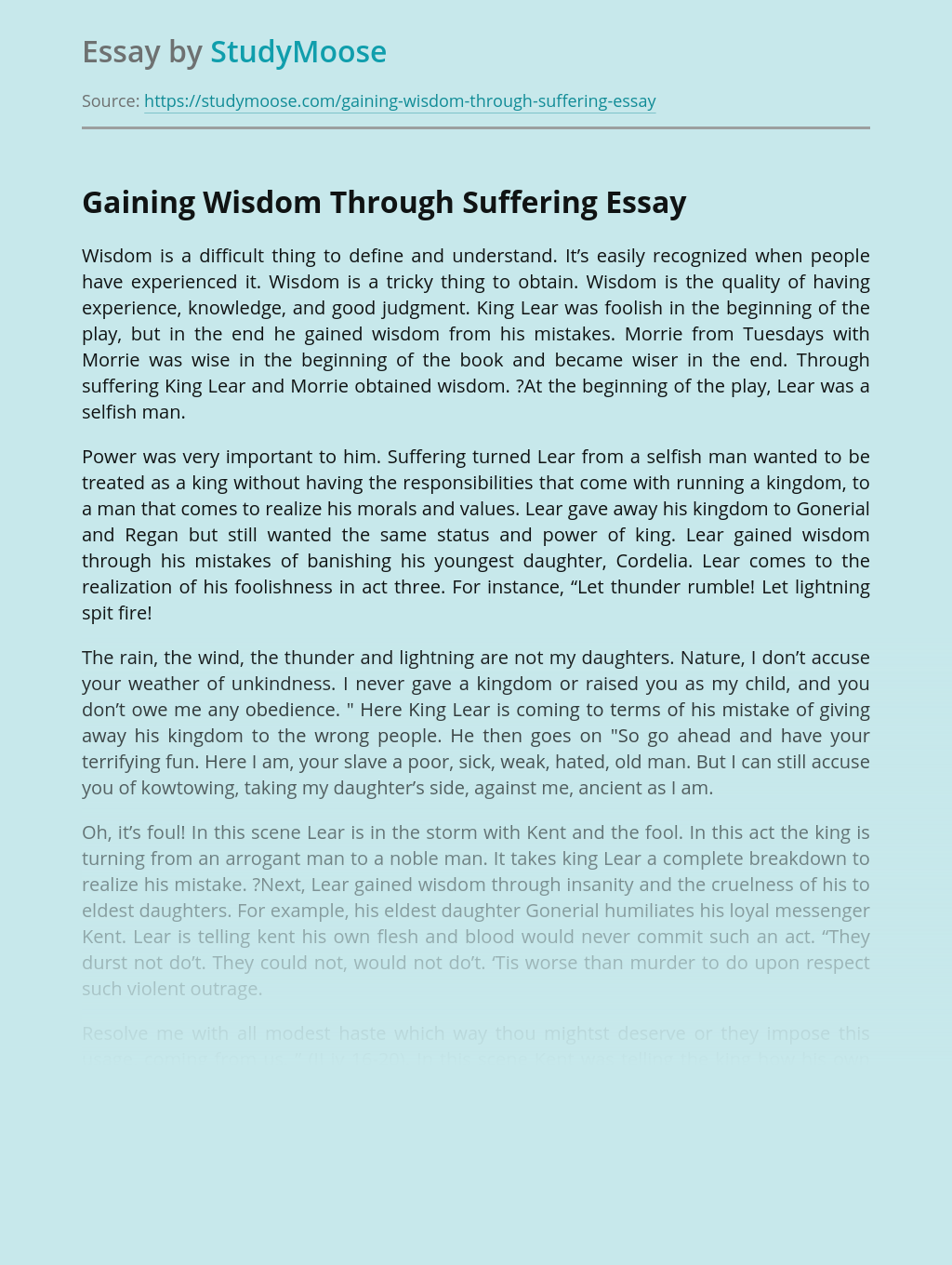 Gaining Wisdom Through Suffering