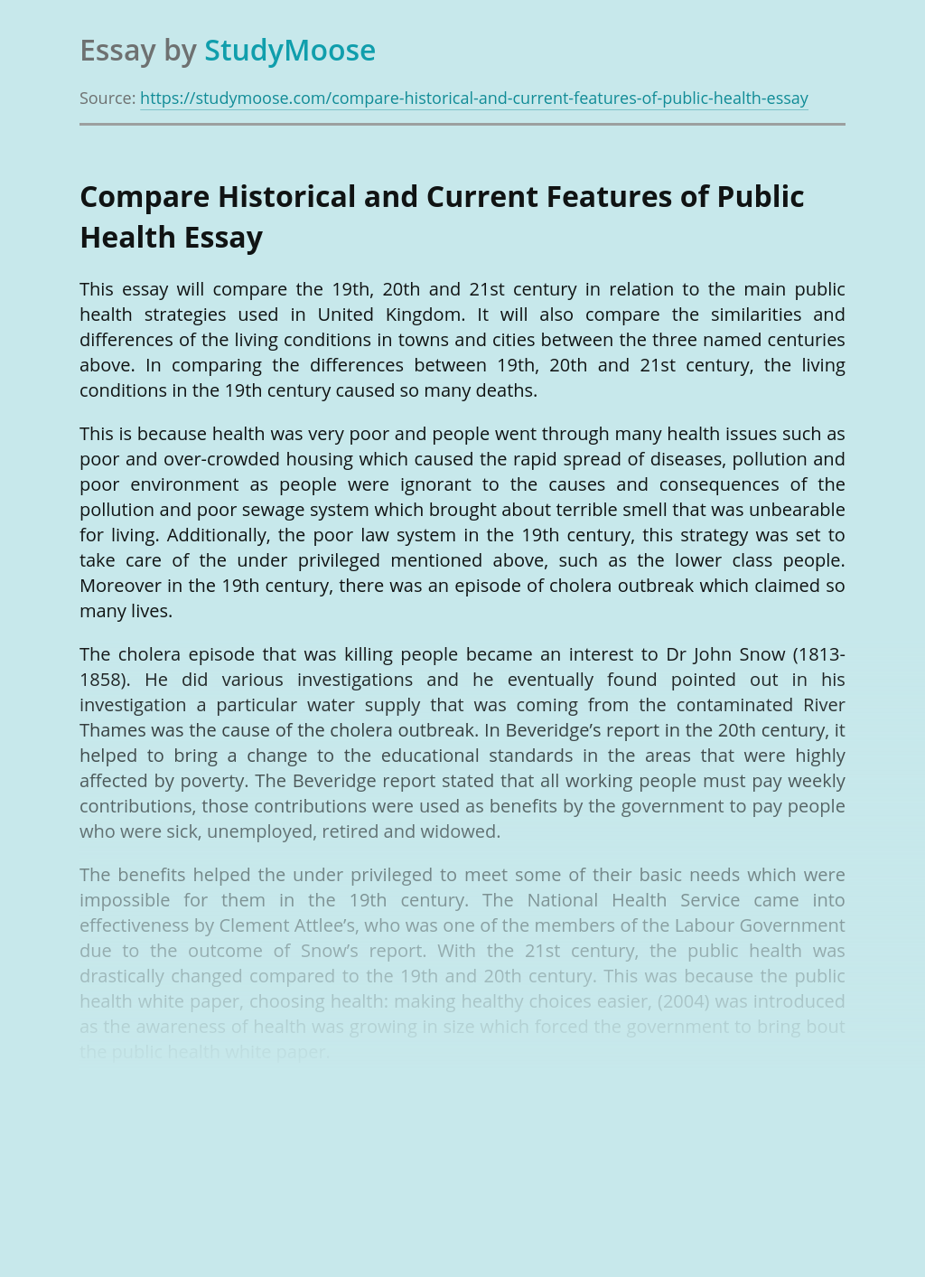 Compare Historical and Current Features of Public Health