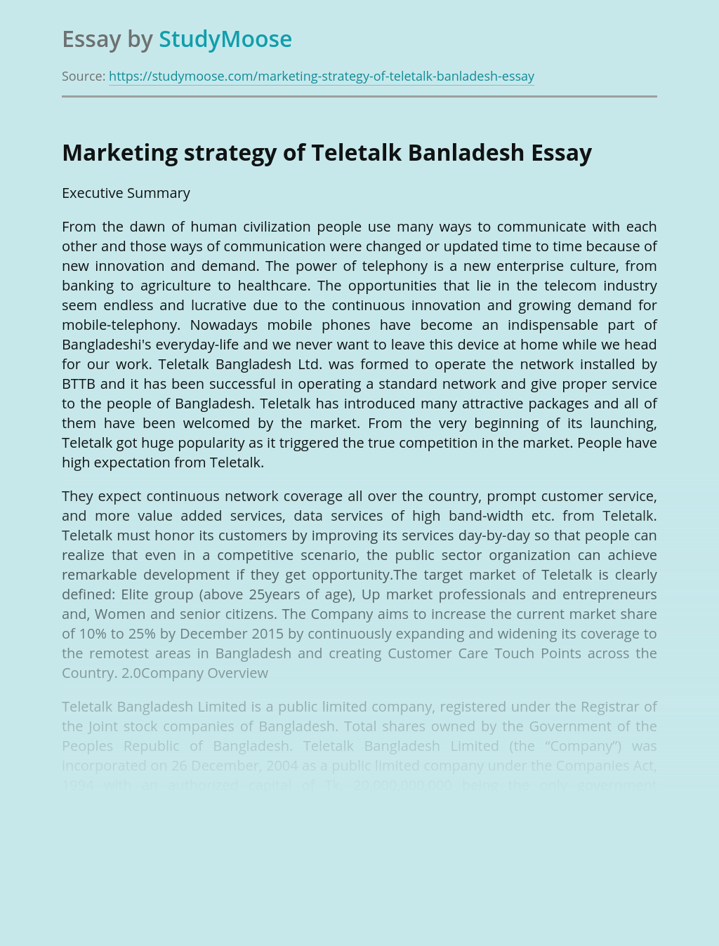 Marketing strategy of Teletalk Banladesh