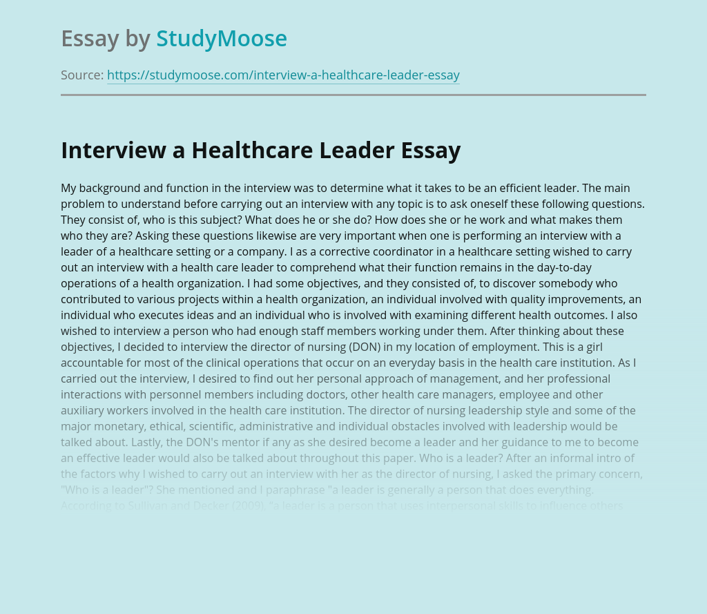 Interview a Healthcare Leader