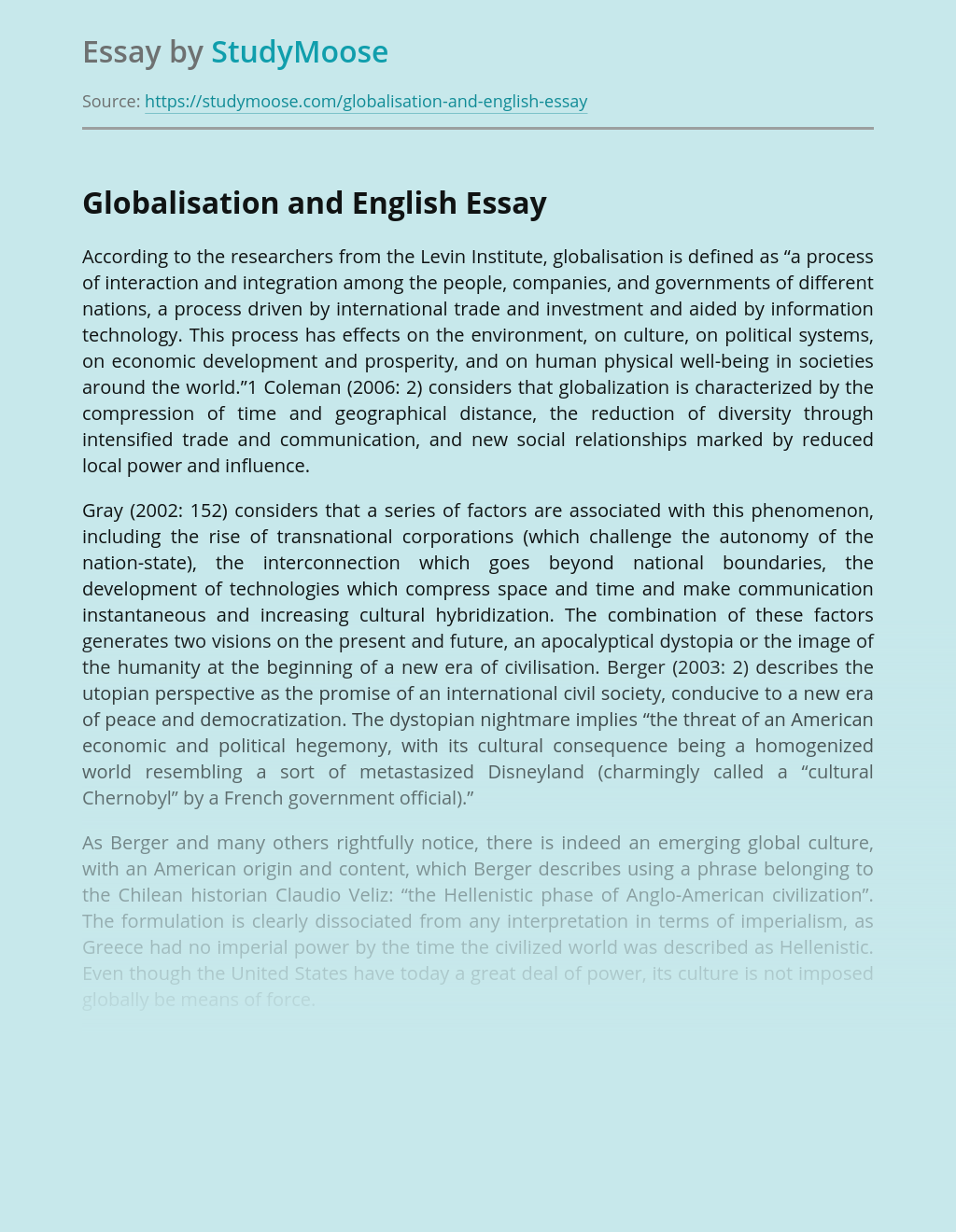 Globalisation and English