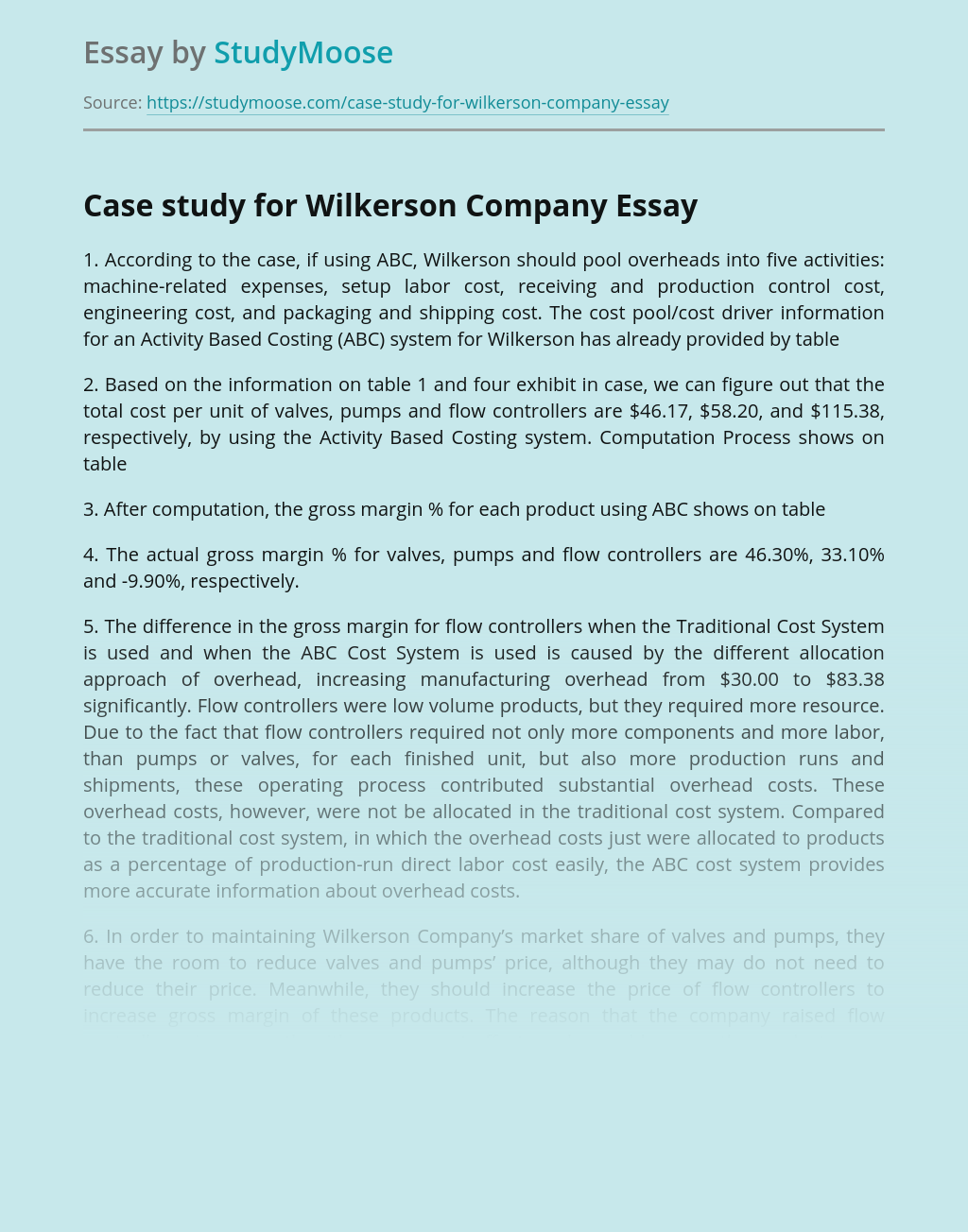 Case study for Wilkerson Company