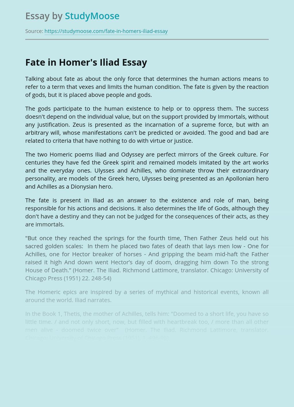 Fate in Homer's Iliad