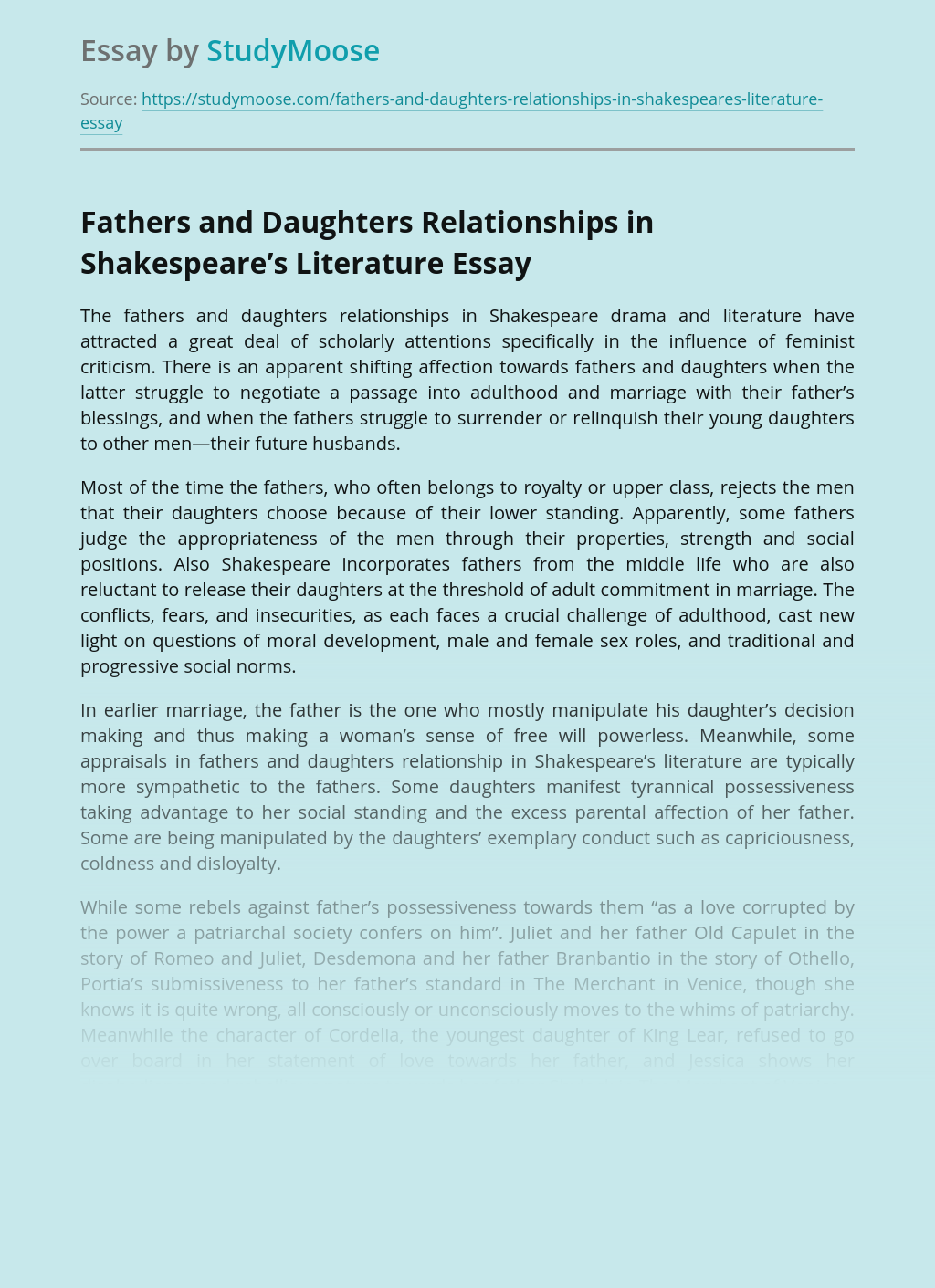 Fathers and Daughters Relationships in Shakespeare's Literature