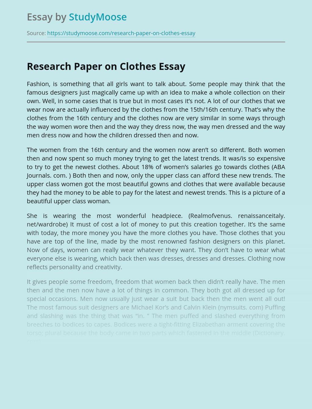 Research Paper on Clothes