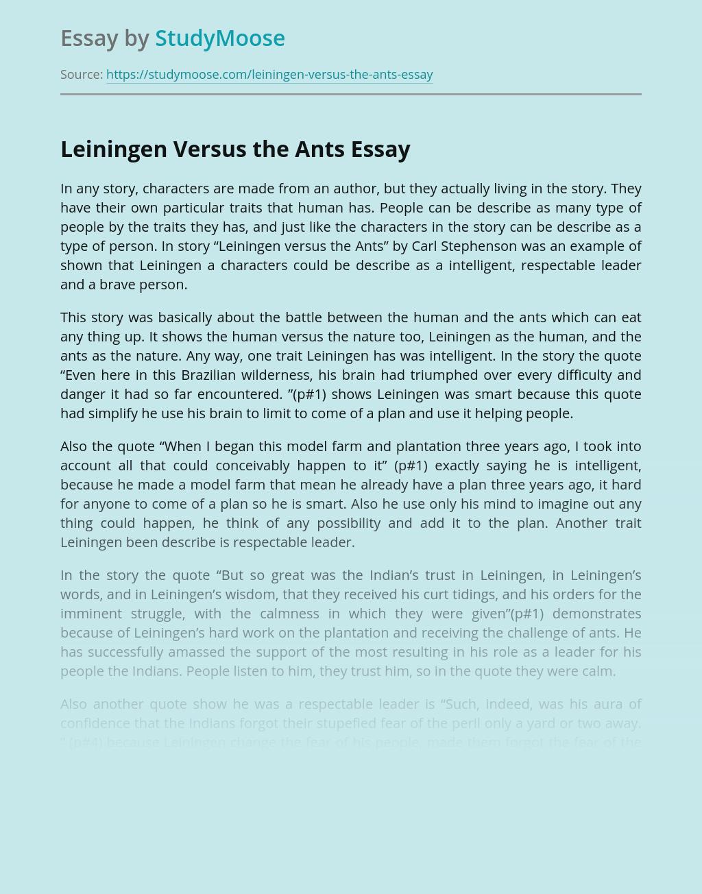 Leiningen Versus the Ants Story Analysis