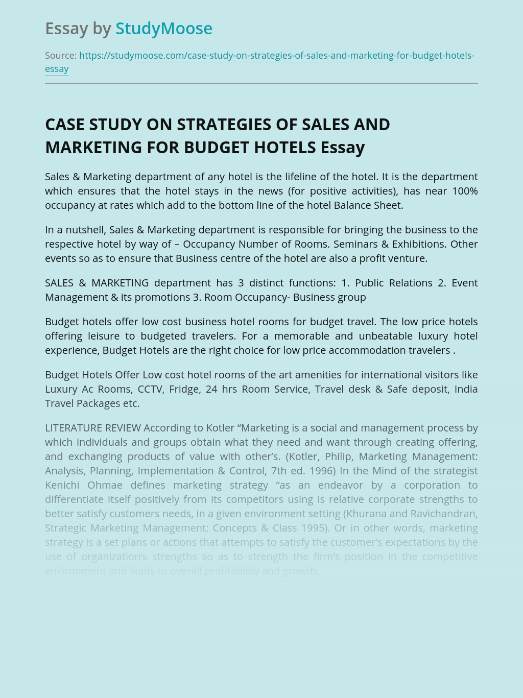 CASE STUDY ON STRATEGIES OF SALES AND MARKETING FOR BUDGET HOTELS