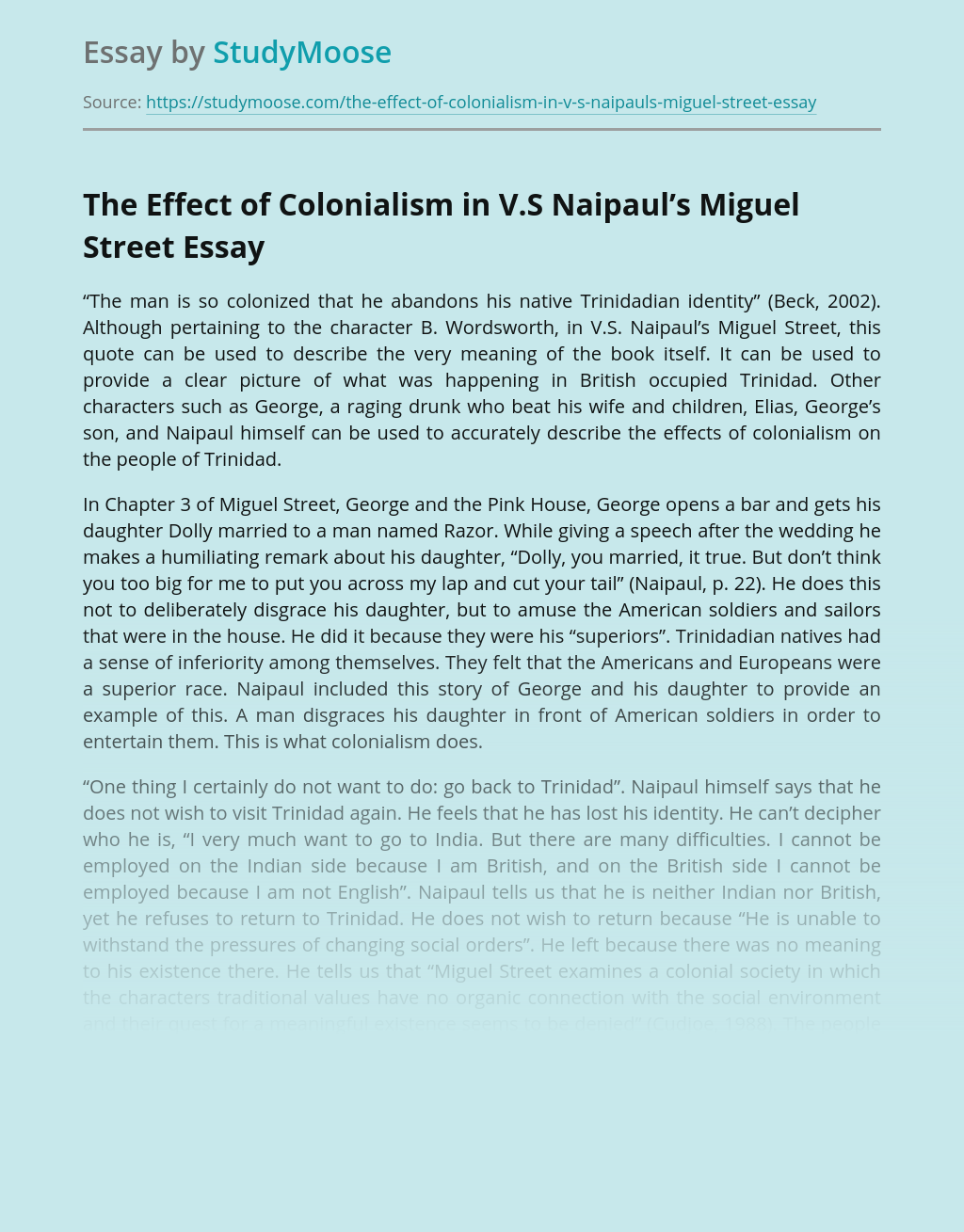 The Effect of Colonialism in V.S Naipaul's Miguel Street