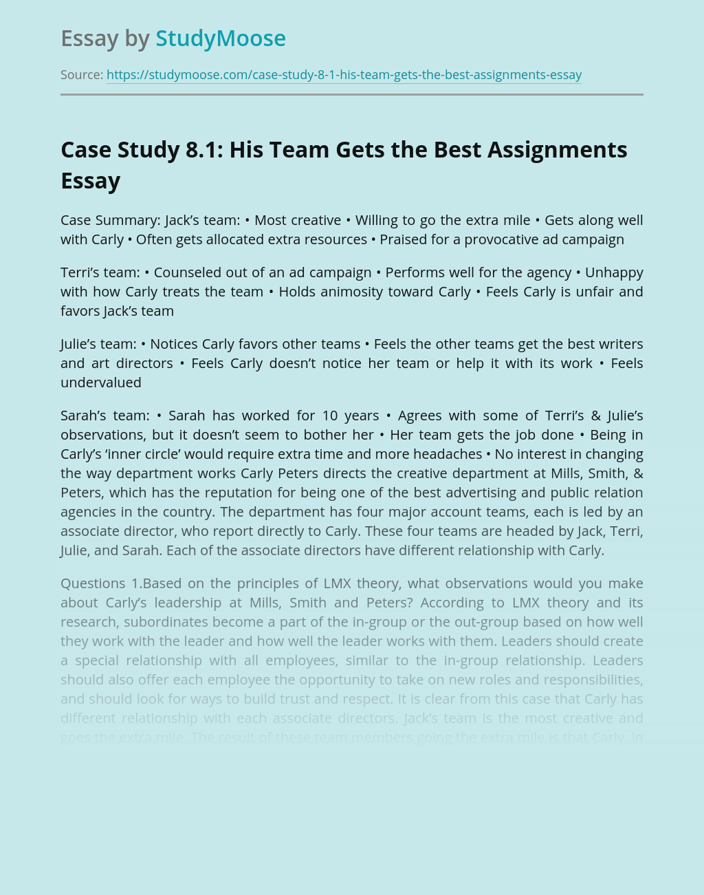Case Study 8.1: His Team Gets the Best Assignments
