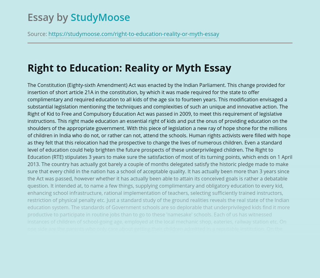 Right to Education: Reality or Myth