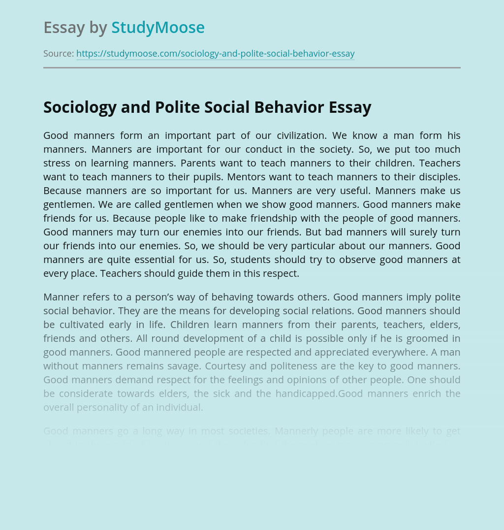 Sociology and Polite Social Behavior