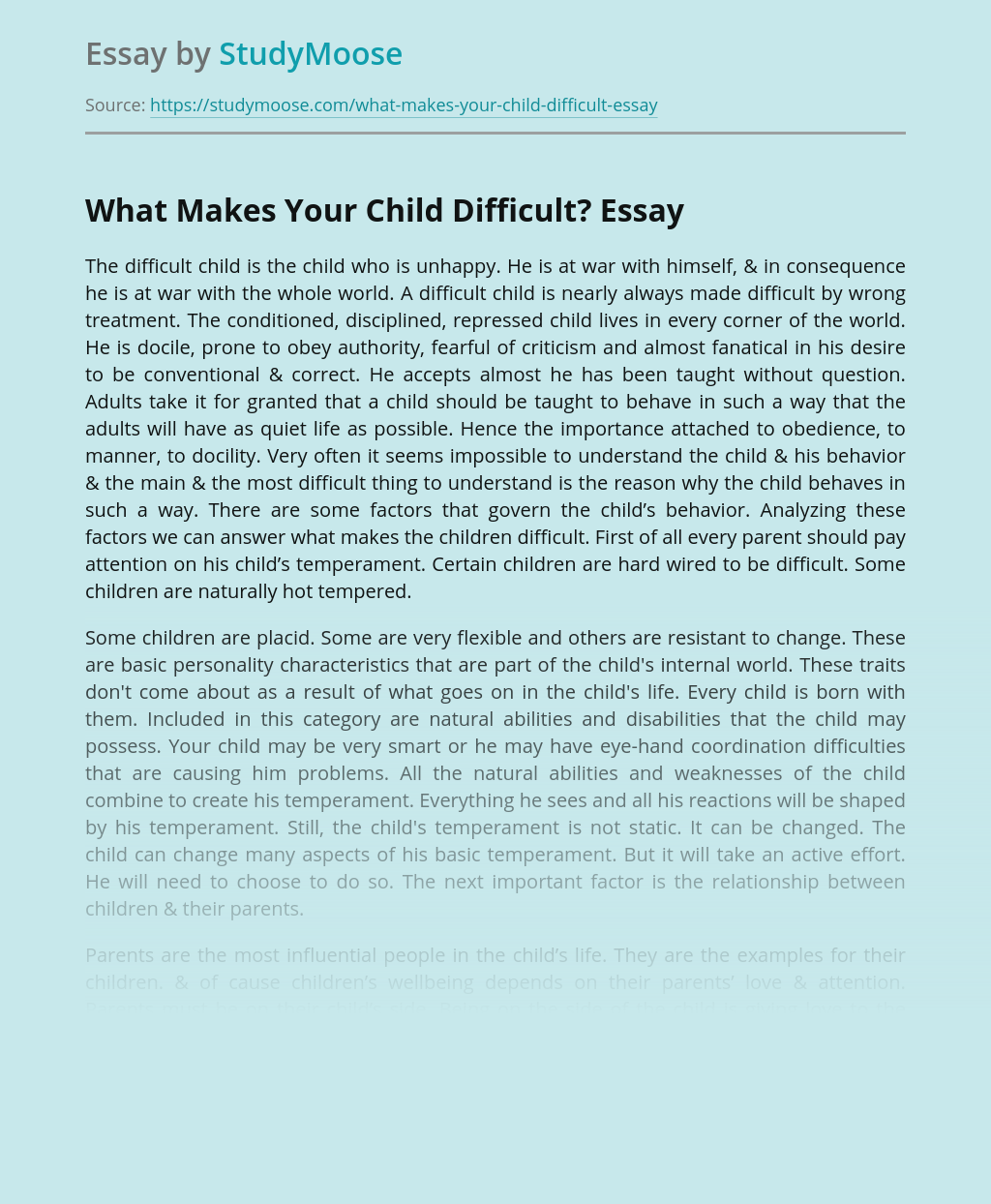 What Makes Your Child Difficult?
