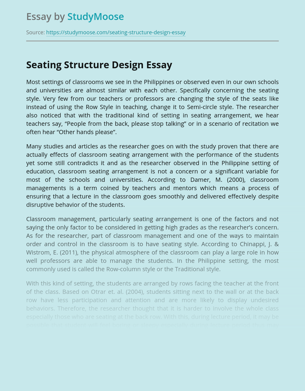 Seating Structure Design