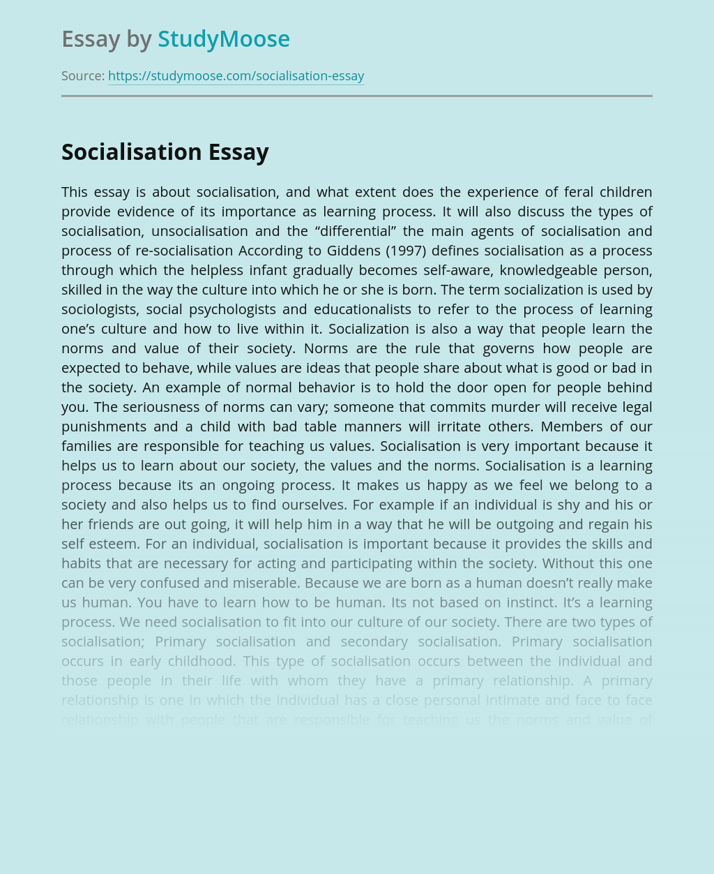 A Research on Socialisation Issues